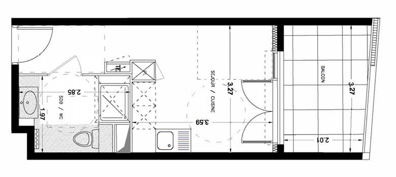 plan appartement 34m2