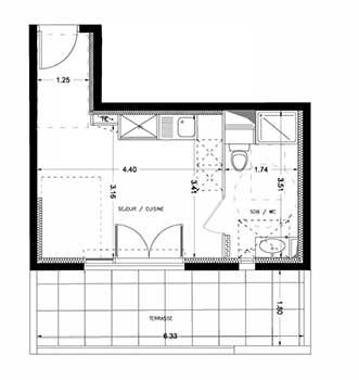 Novanea pr sente les appartements de type 1 la r sidence hopen montpellier - Plan appartement 40m2 ...