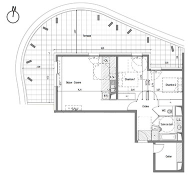 Plan appartement t3 80m2 for Plan maison t3